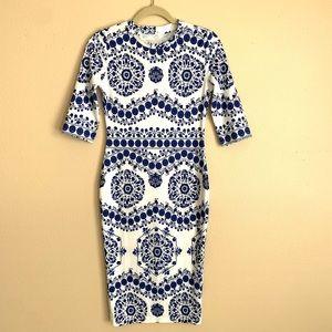 Body con 3/4 sleeve Pencil Dress Small